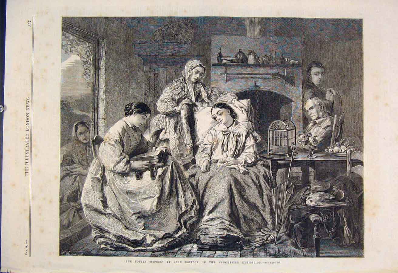 Print Foster Sisters Bostock Manchester Fine Art 1865 57Maa1 Old Original