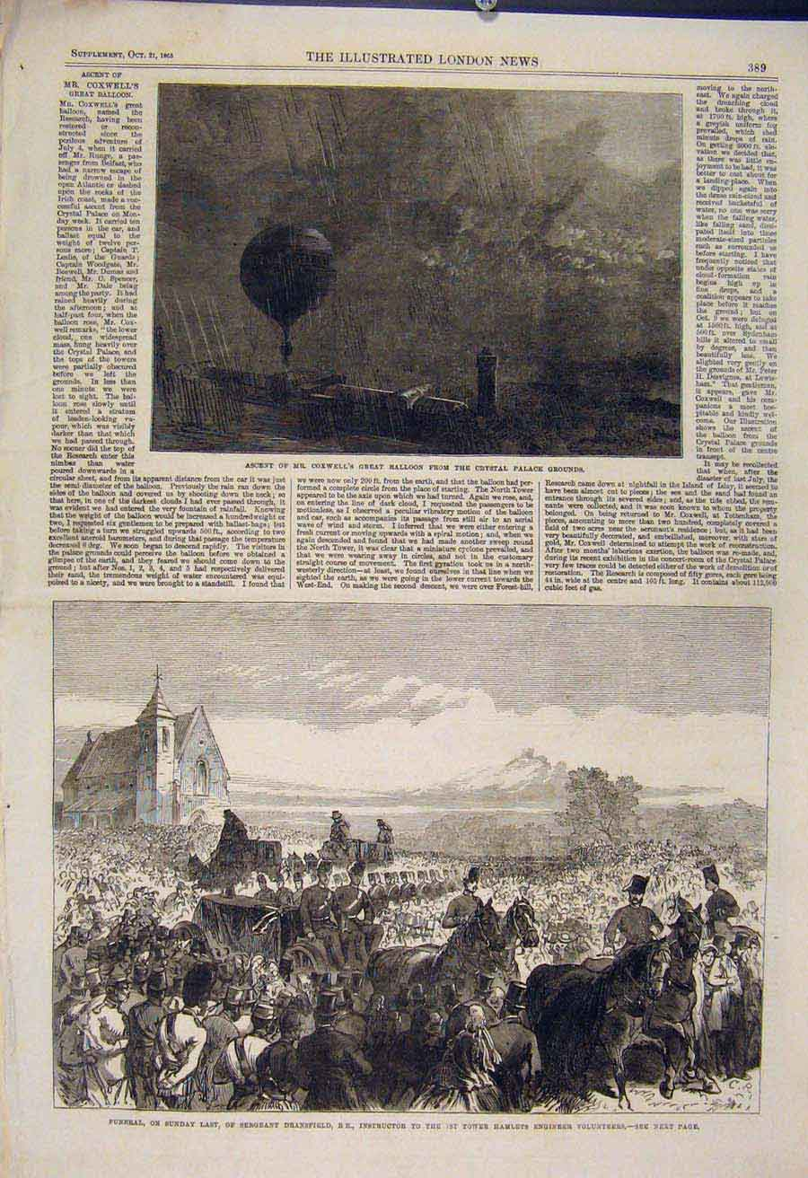 Print Coxwell Balloon Crystal Palace Funeral Dransfield 1865 89Maa1 Old Original