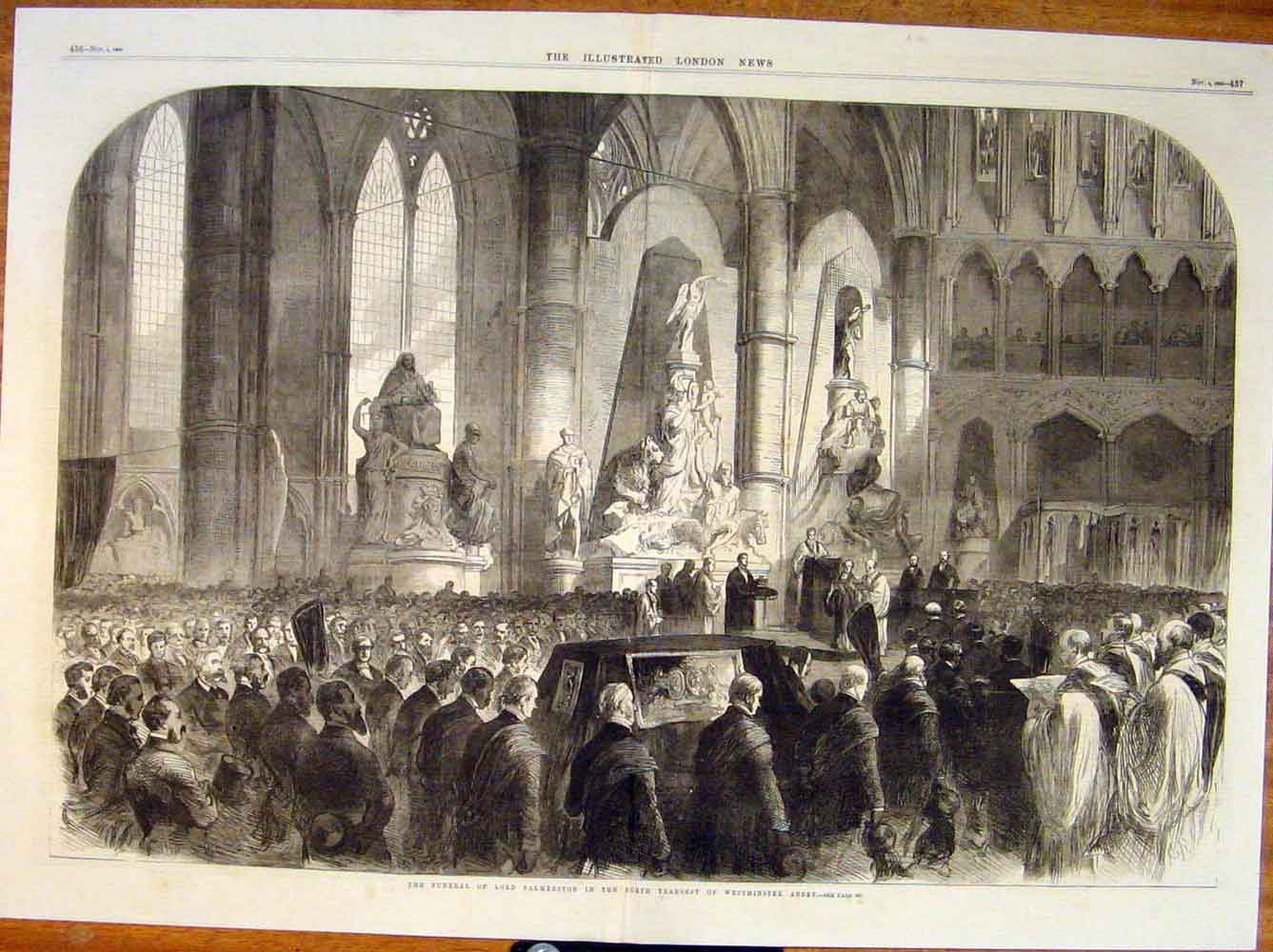 Print Funeral Lord Palmerston Westminster Abbey London 1865 35Tmaa1 Old Original