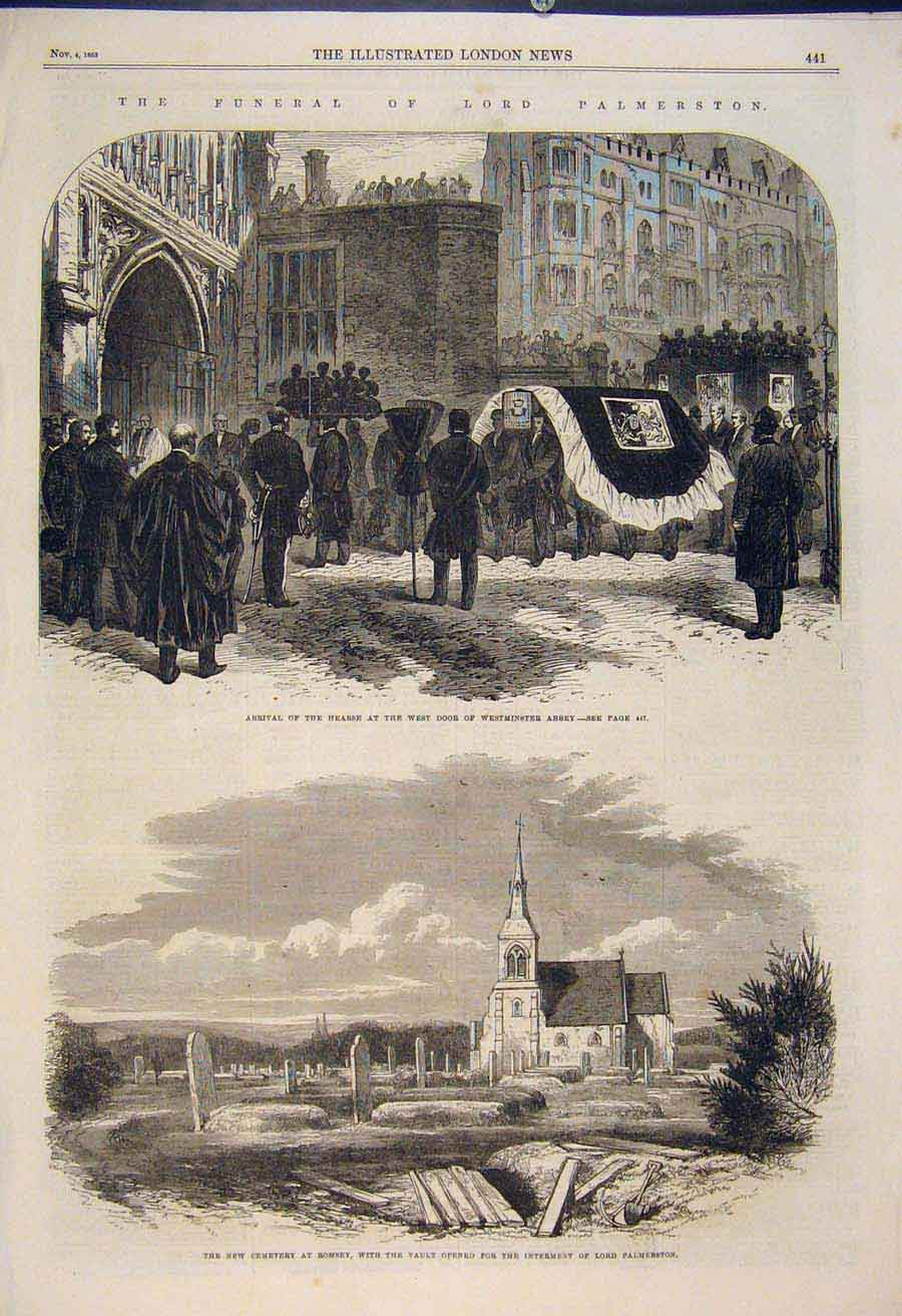 Print Westminster Abbey Cemetery Romsey Lord Palmerston 1865 41Amaa1 Old Original