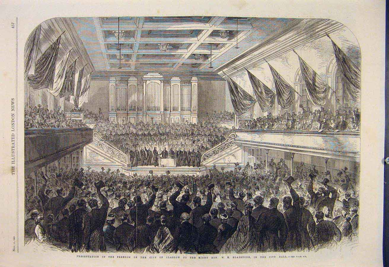 Print City Glasgow Gladstone Hall Scotland 1865 57Maa1 Old Original