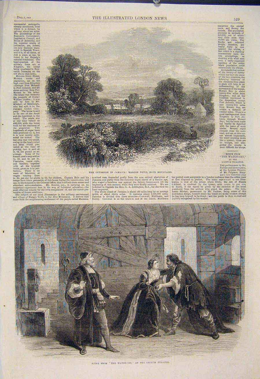 [Print Jamaica Maroon Town Blue Mountains Lyceum Theatre 1865 29Maa1 Old Original]