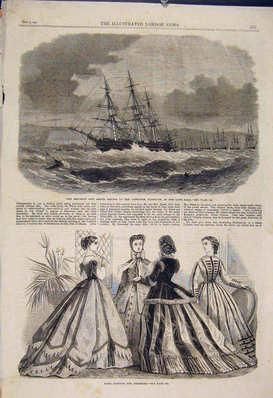 Print Amoor Ship Catwater Plymouth Emigrant Paris Fashions 45Maa1 Old Original
