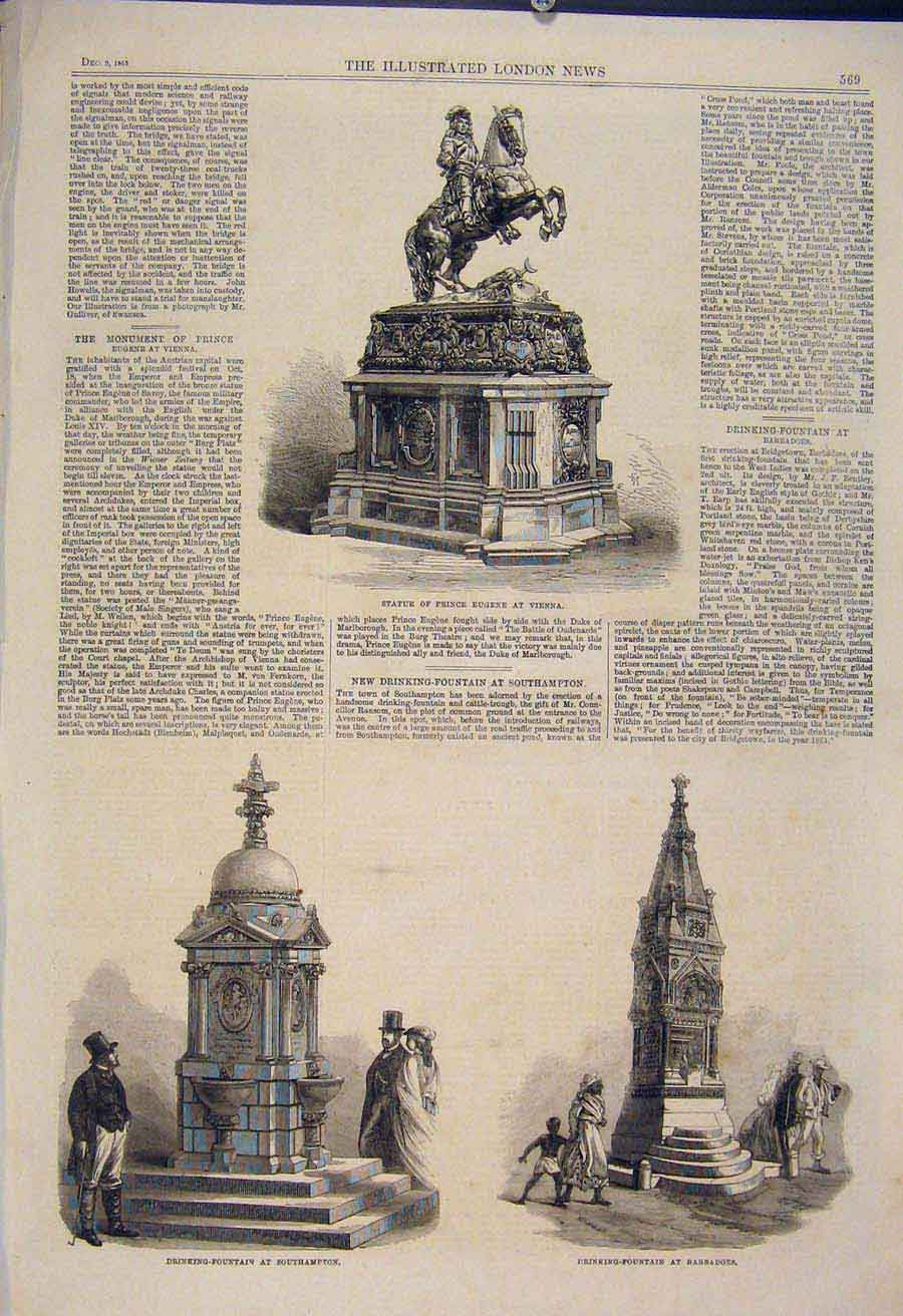 Print Statue Eugene Vienna Fountain Southampton Barbadoes 69Maa1 Old Original