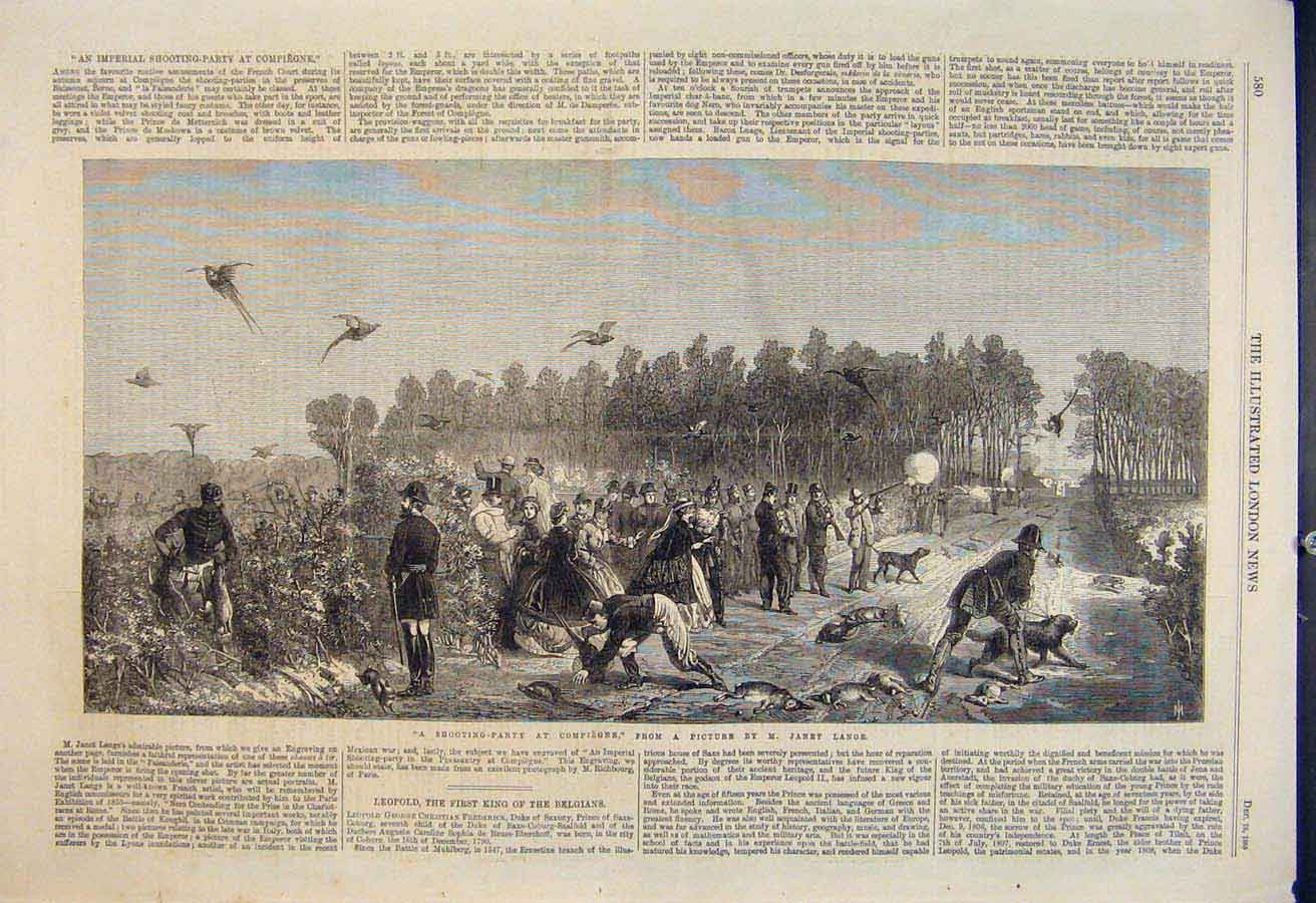 Print Shooting Party Compiegne Lange Fine Art 1865 80Maa1 Old Original