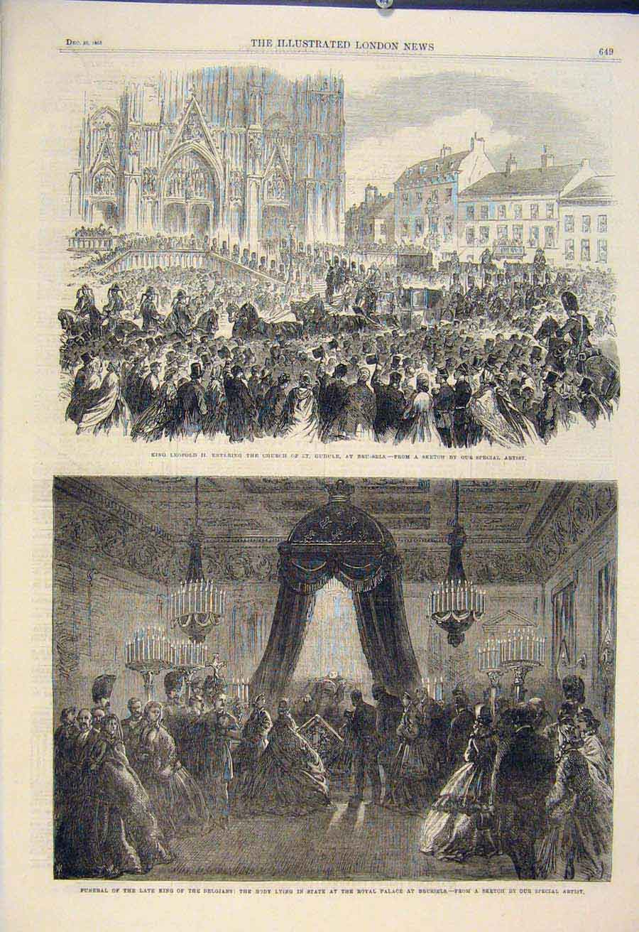 Print Leopchurch Brussels Funeral Belgian King Senate 49Amaa1 Old Original