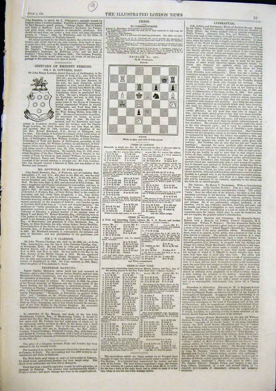Print Chess Problems And Solutions 1868 13Maa1 Old Original