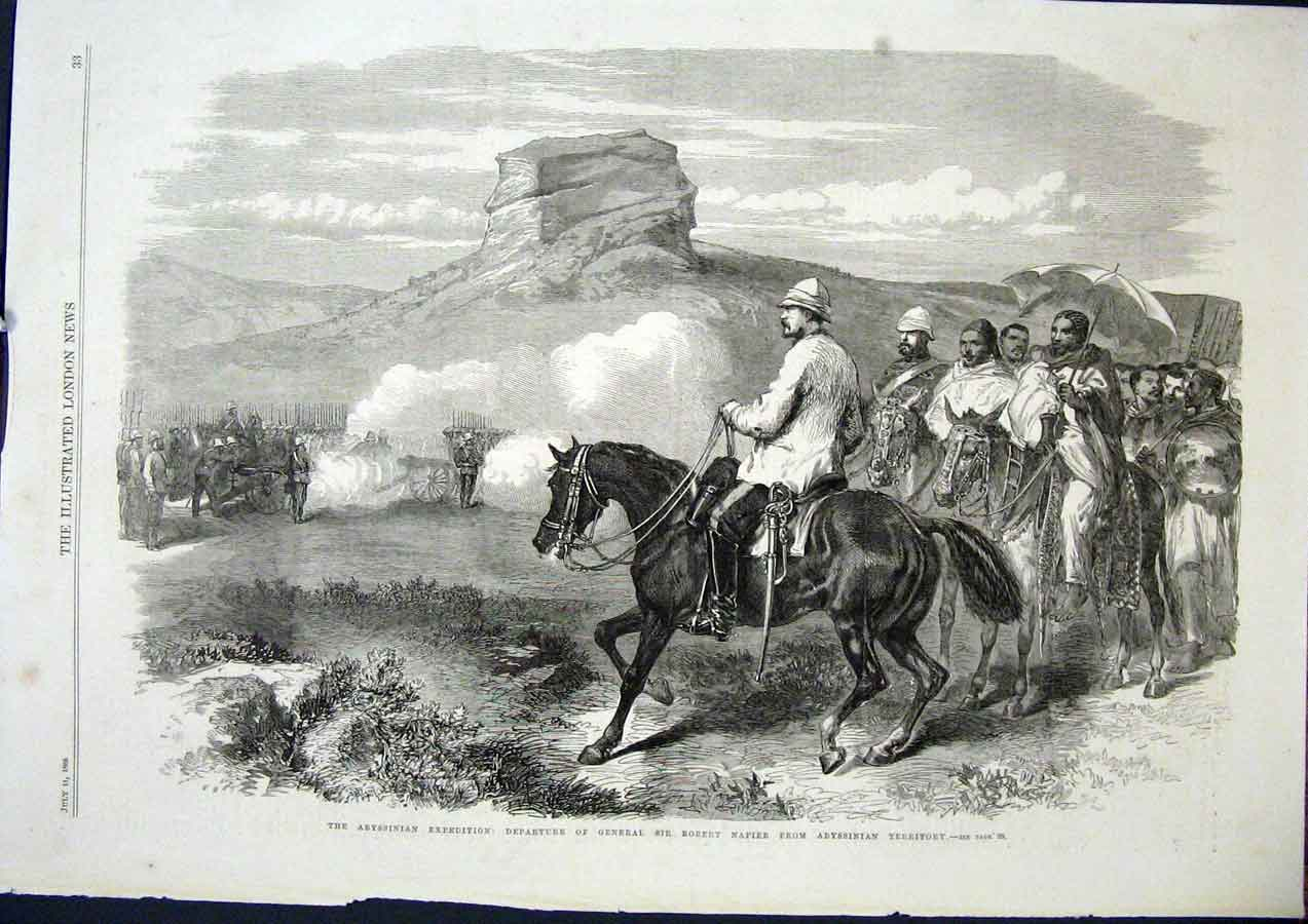 Print Abyssinian Expedition Ethiopia Napier 1868 33Maa1 Old Original
