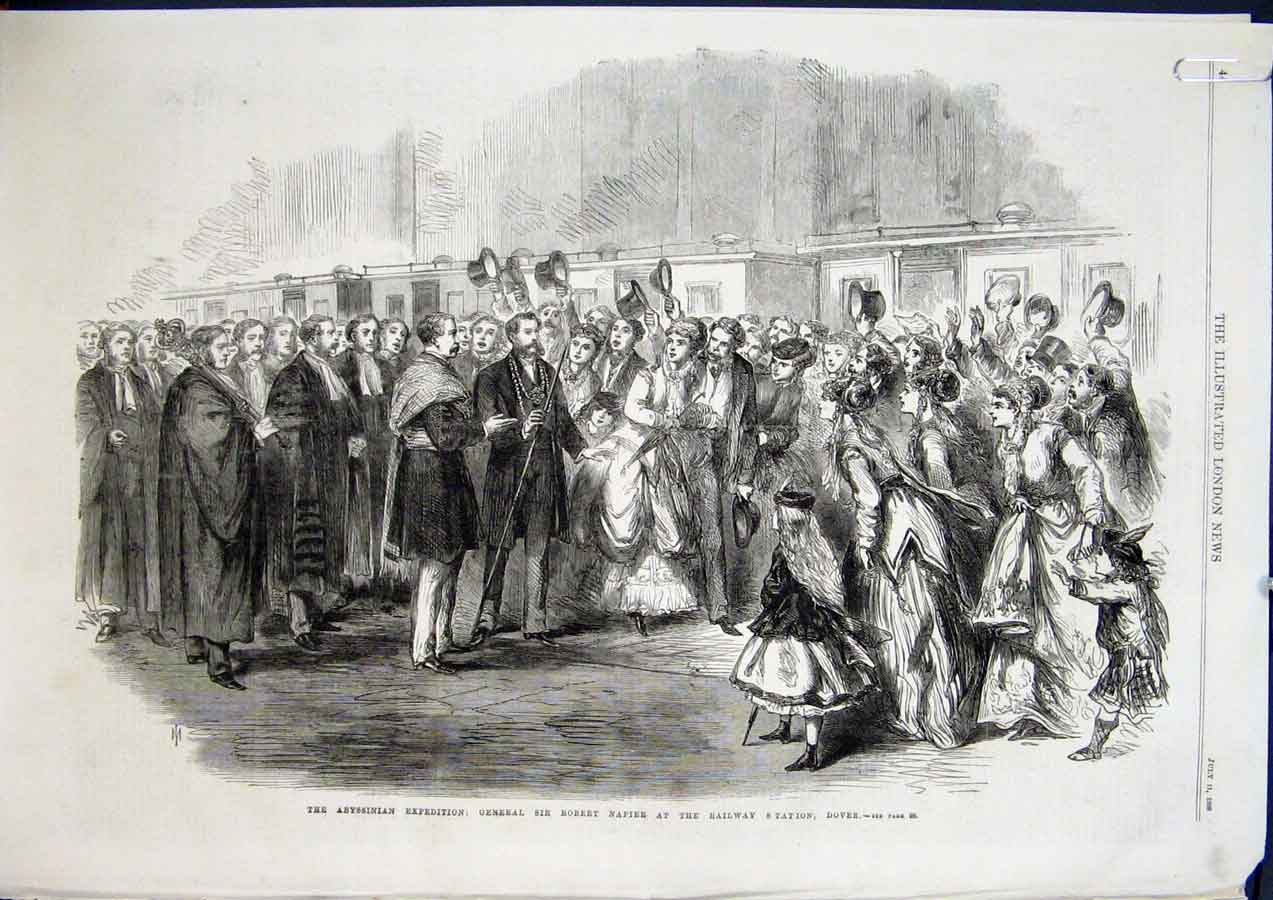 Print Abyssinian Expedition Napier Railway Station Dover 1868 44Amaa1 Old Original