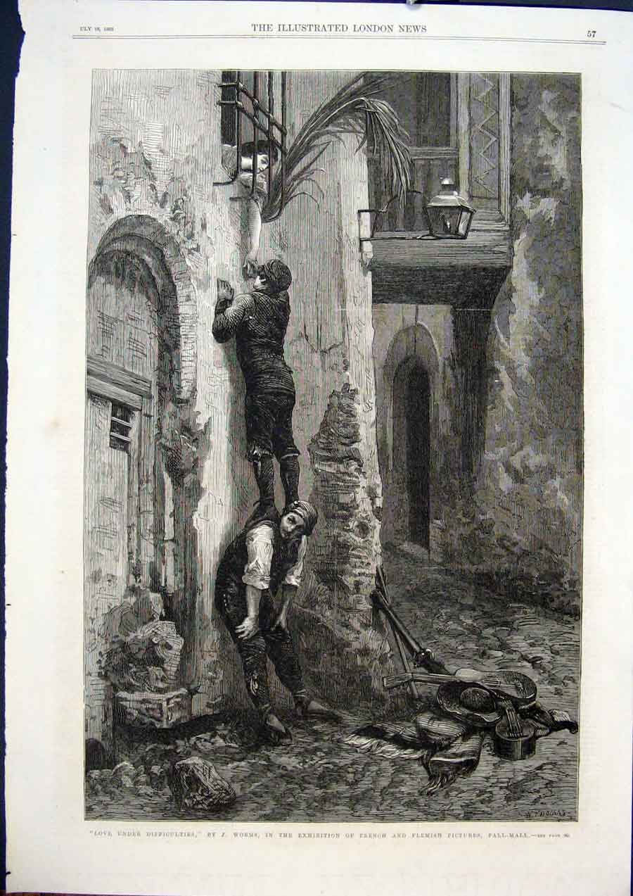 Print Woms French Flemish Pall Mall Love Fine Art 1868 57Maa1 Old Original