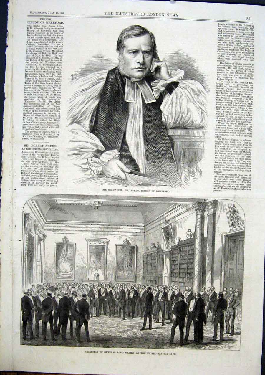 Print Portrait Atlay Hereford Bishop Napier Club 1868 85Maa1 Old Original