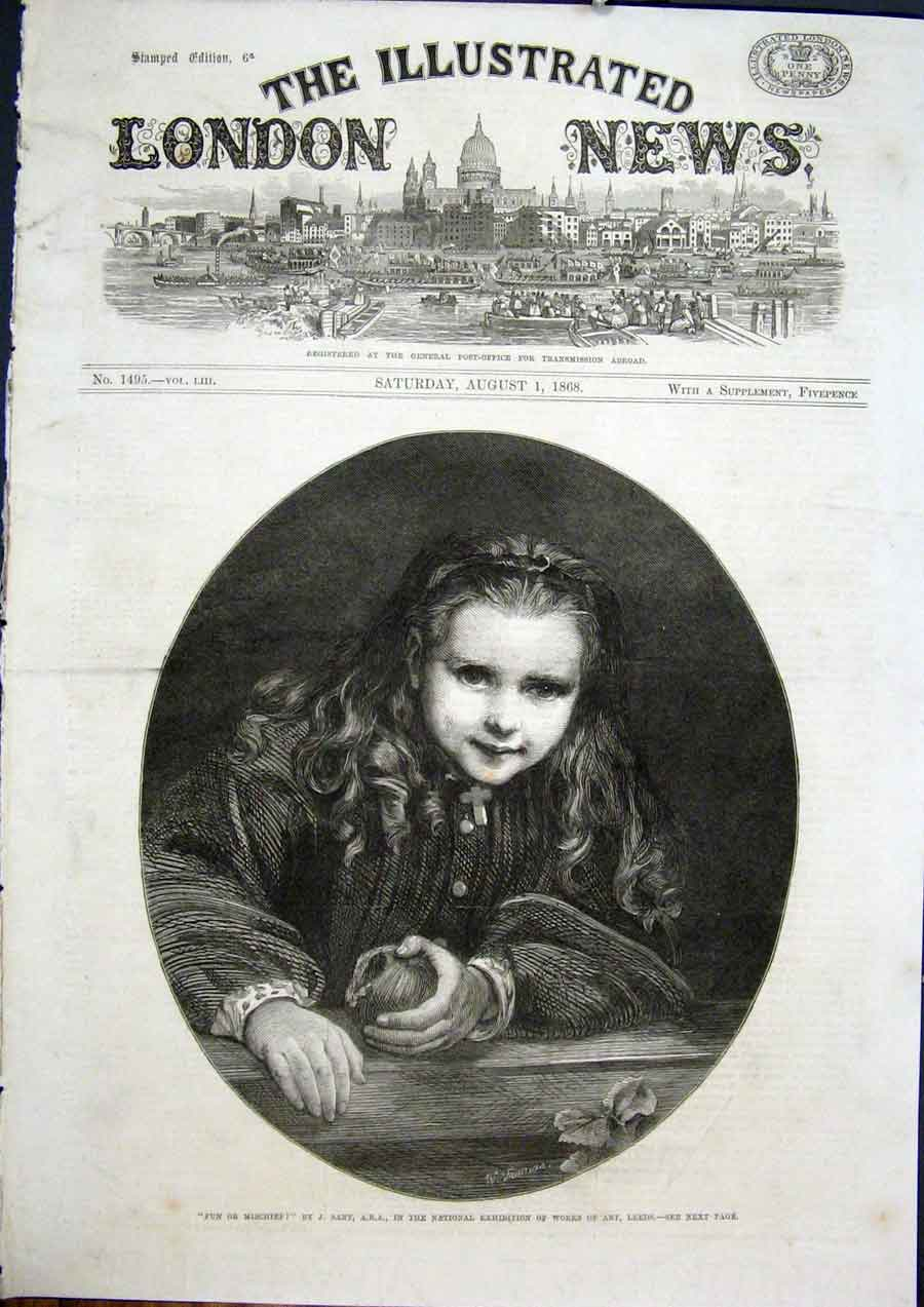 Print Mischief Fun Sant Leeds Exhibition Fine Art 1868 94Maa1 Old Original