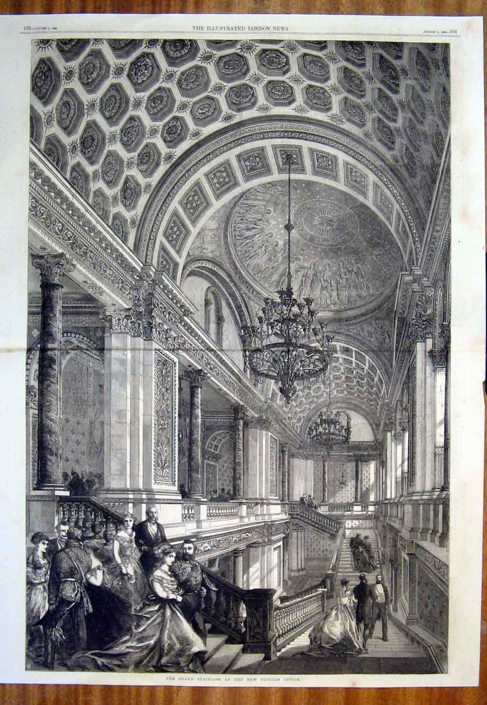 Print Staircase Foreign Office London Westminster 1868 99Tmaa1 Old Original