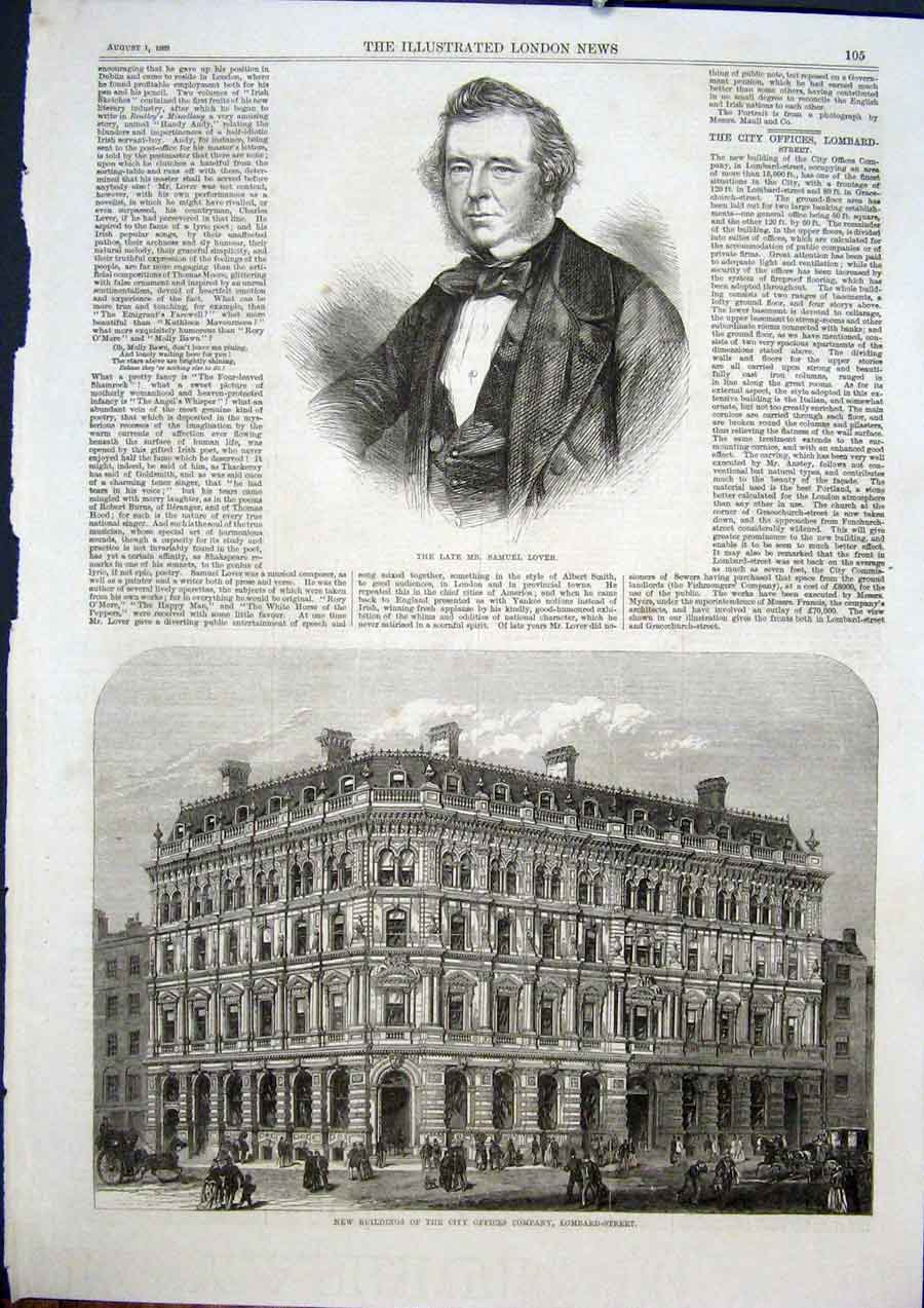Print Portrait Lover Lombard Street London Buildings Offices 05Maa1 Old Original