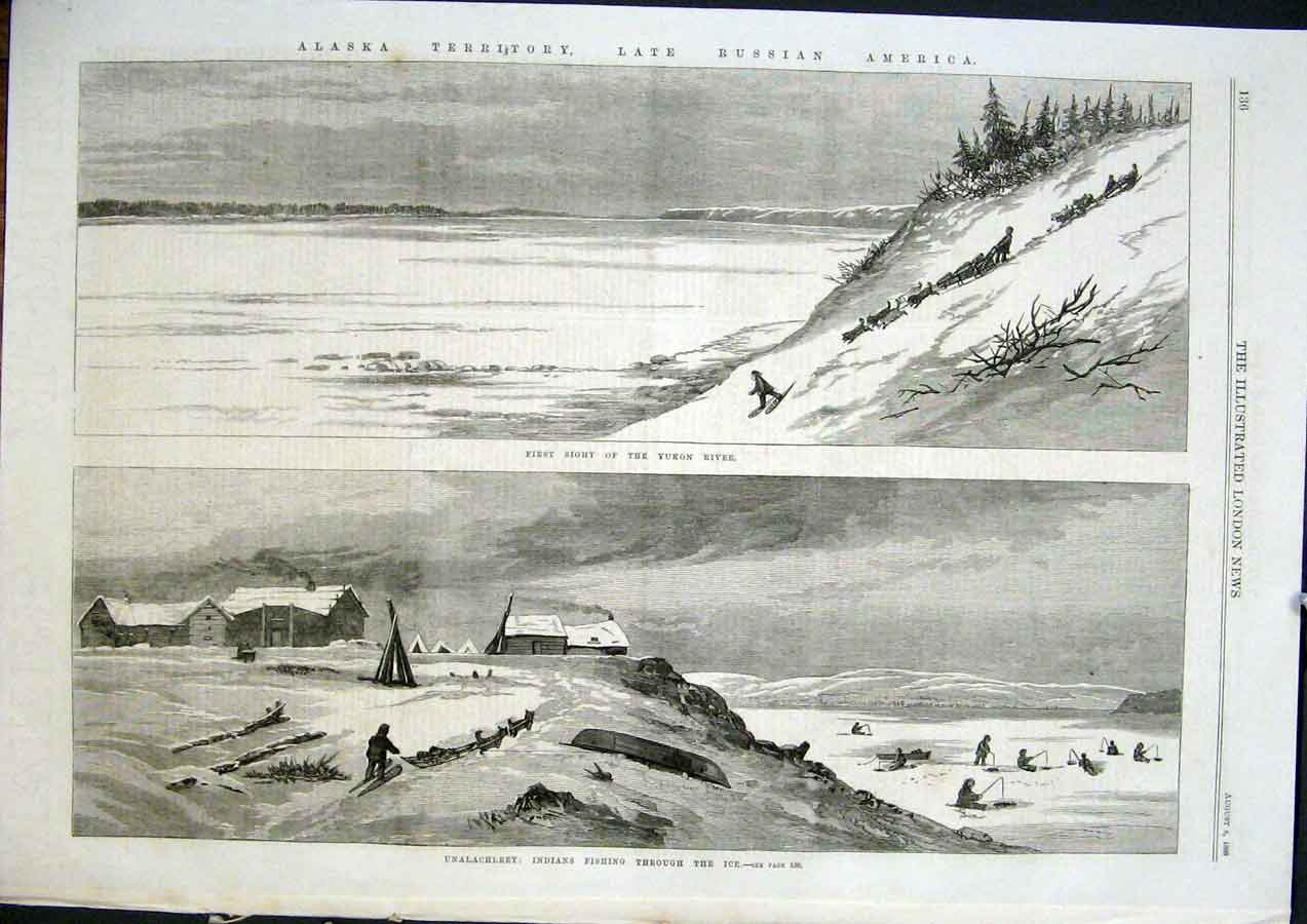 Print Yukon River Unalachleet Indian Fishing Ice Alaska 1868 36Maa1 Old Original
