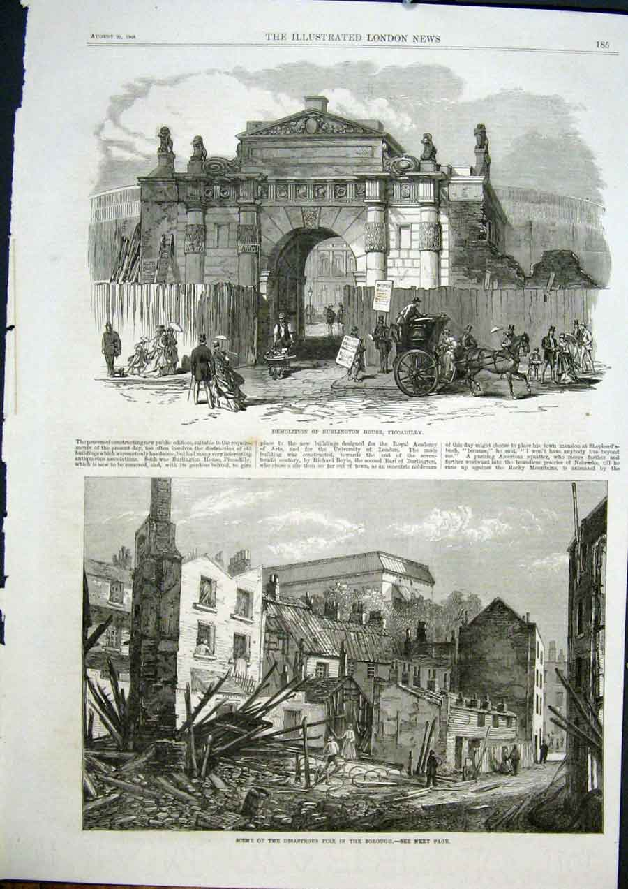 Print Burlington House Piccadilly London Fire Borough 1868 85Maa1 Old Original