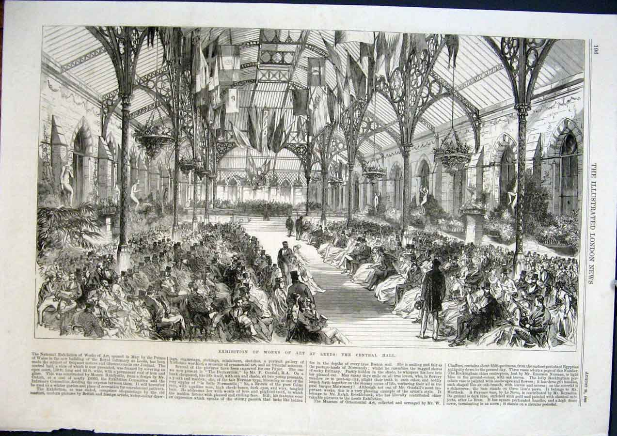 Print Leeds Central Hall Exhibition Art 1868 96Maa1 Old Original