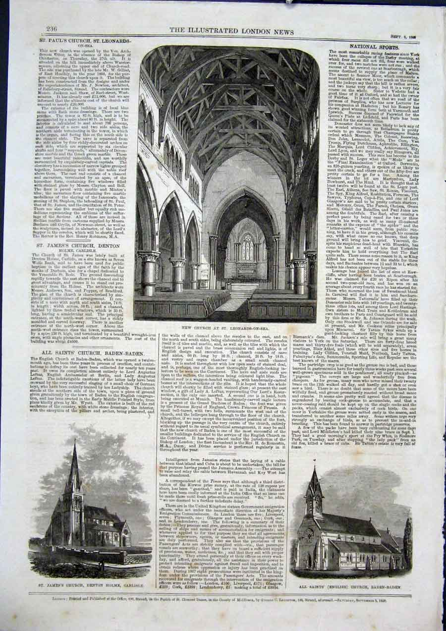 Print Leonards-On-Sea Church Denton Home Carlisle Baden 1868 36Maa1 Old Original
