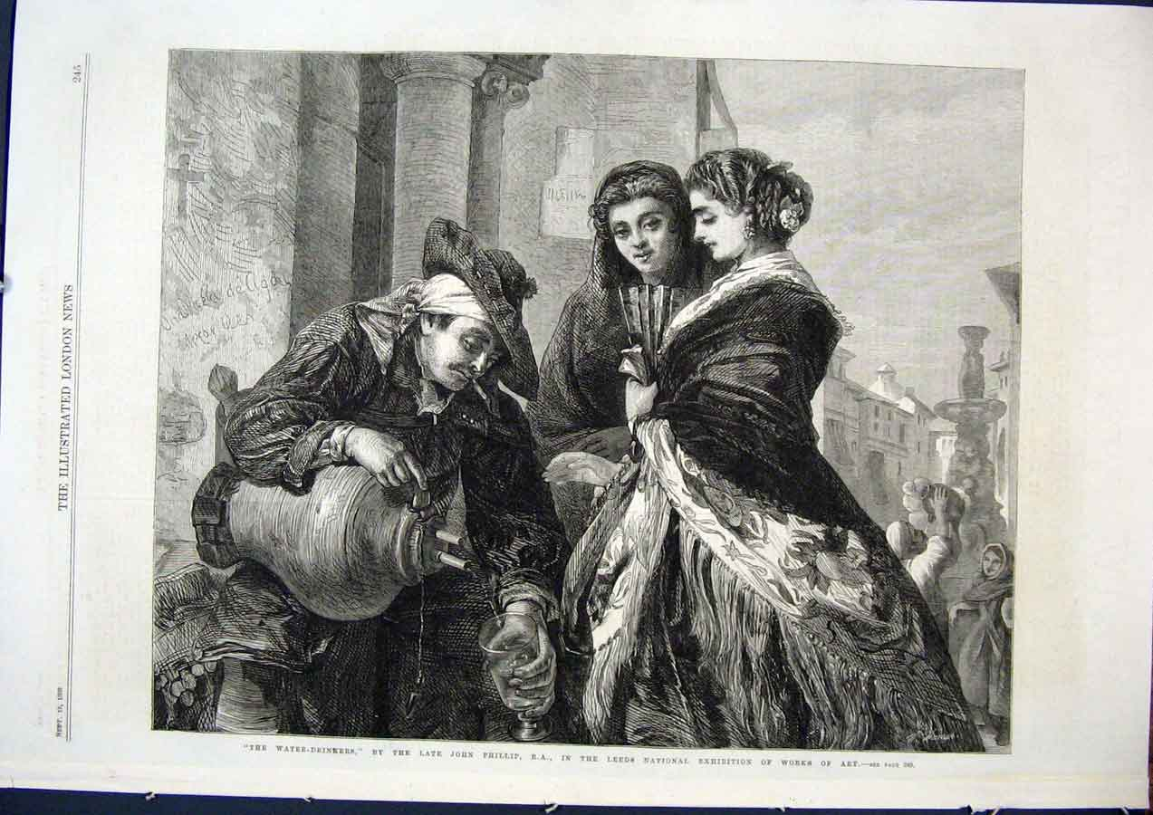 Print Water Drinkers Phillip Leeds Exhibition Fine Art 1868 45Maa1 Old Original