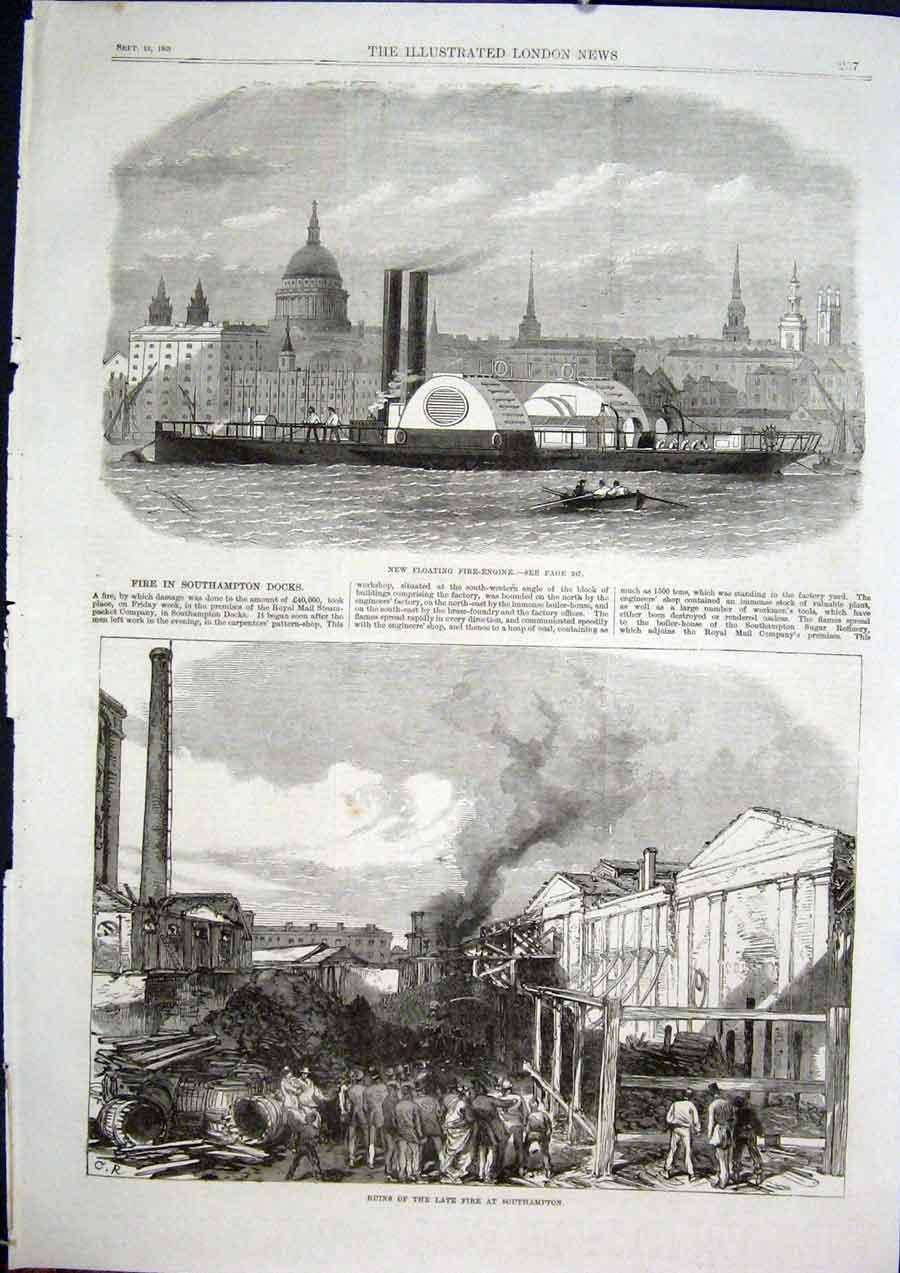 Print Fire Engine Floating Ship Boat Southampton Dock Fire 57Maa1 Old Original