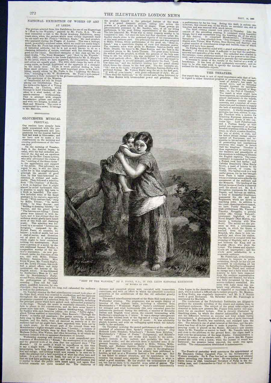 Print Rest Wayside Poole Leeds Exhibition Fine Art 1868 72Maa1 Old Original
