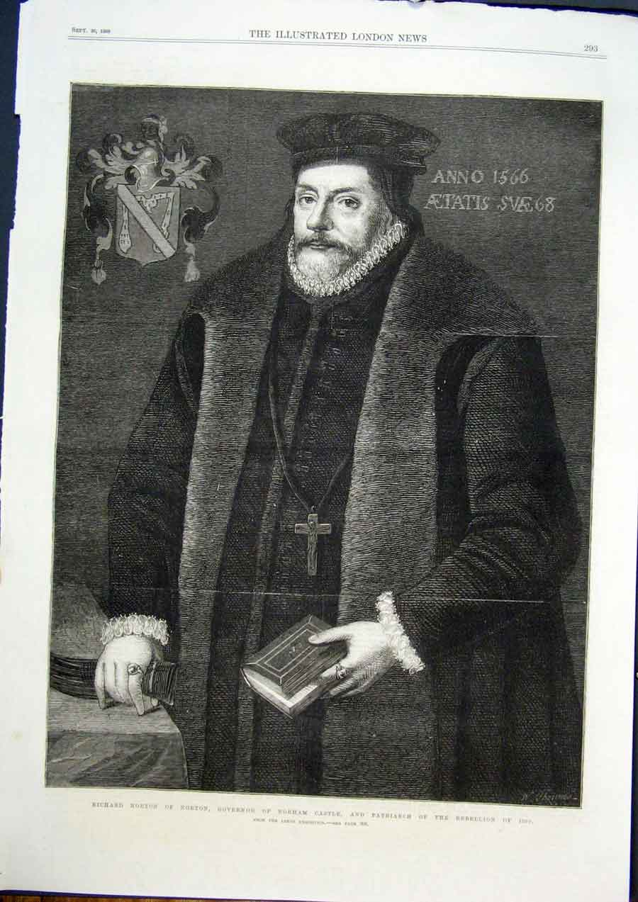 Print Portrait Norton Norham Castle Patriarch Rebellion 1569 93Maa1 Old Original