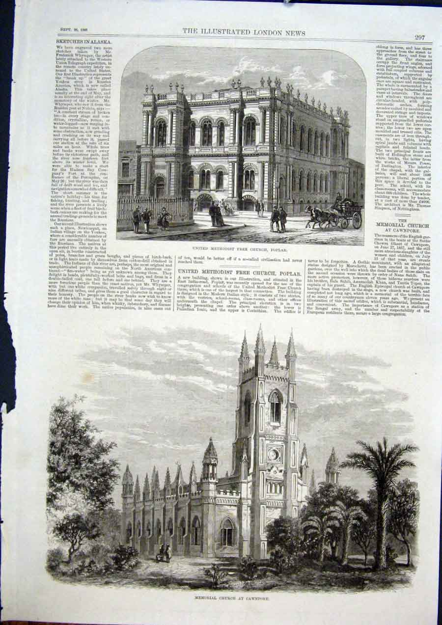 Print Poplar Methodist Church Memorial Cawnpore 1868 97Maa1 Old Original