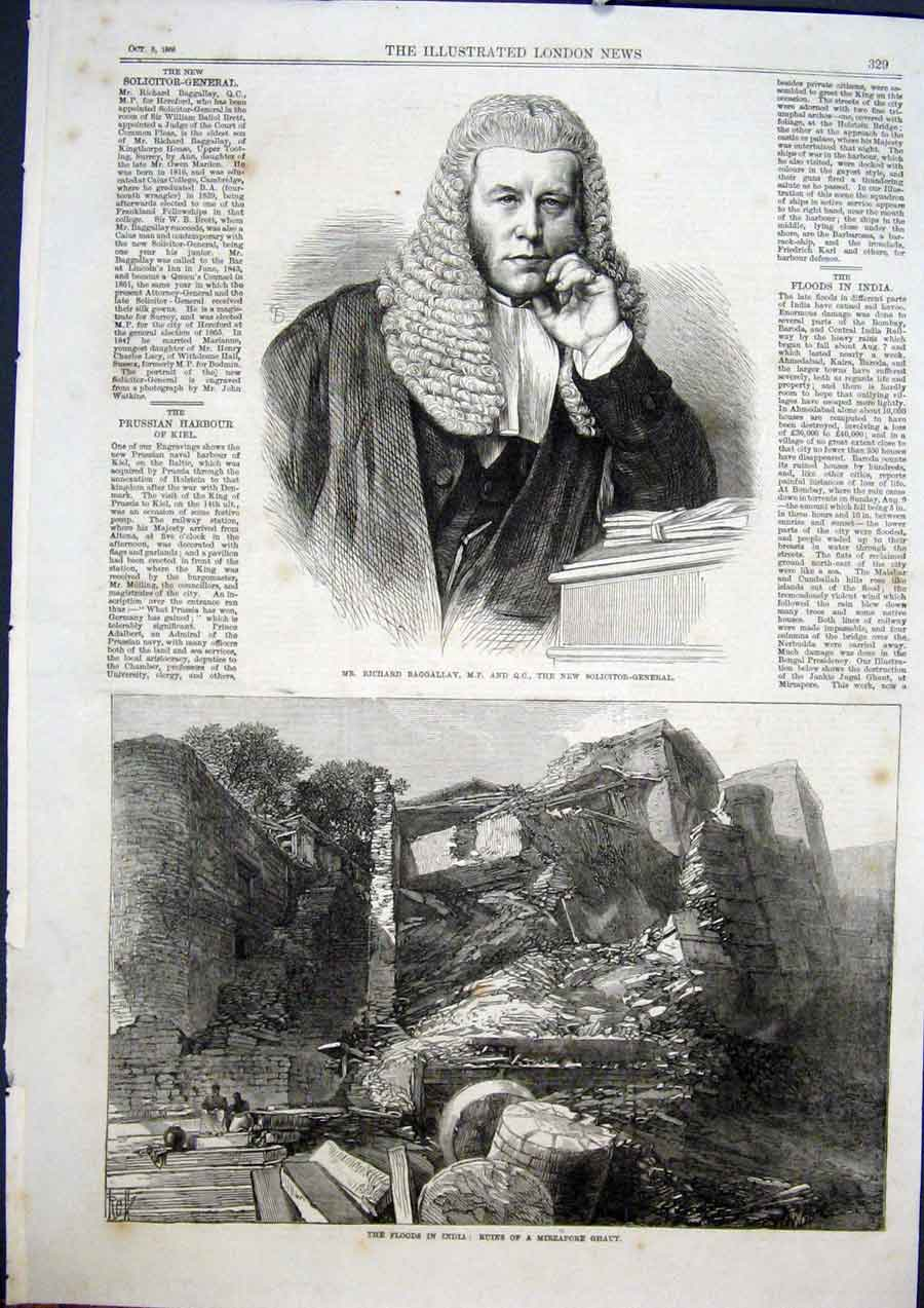 Print Portrait Baggallay Solicitor Flood India Mirzapore 1868 29Maa1 Old Original