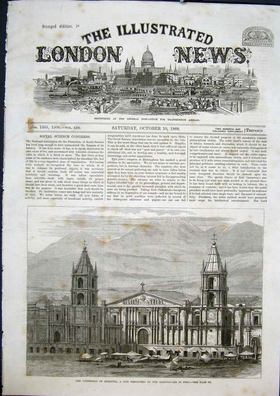 [Print Cathedral Arequipa Earthquake Peru City 1868 34Maa1 Old Original]
