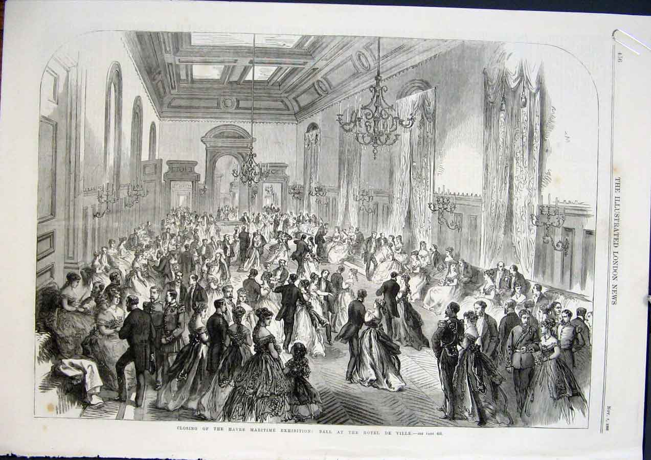Print Havre Maritime Ball Hotel Ville Awards Beaux Arts 1868 56Amaa1 Old Original