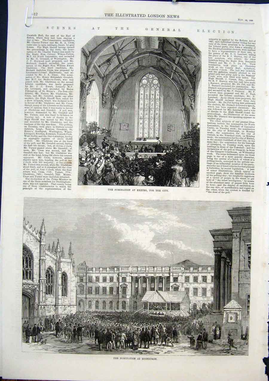 Print Exeter Edinburgh Election Oxford Lancaster Nominations 12Amaa1 Old Original
