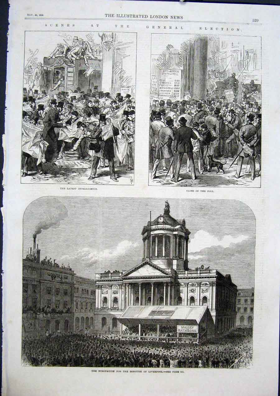 Print Election Poll Liverpool Borough Nomination 1868 29Maa1 Old Original