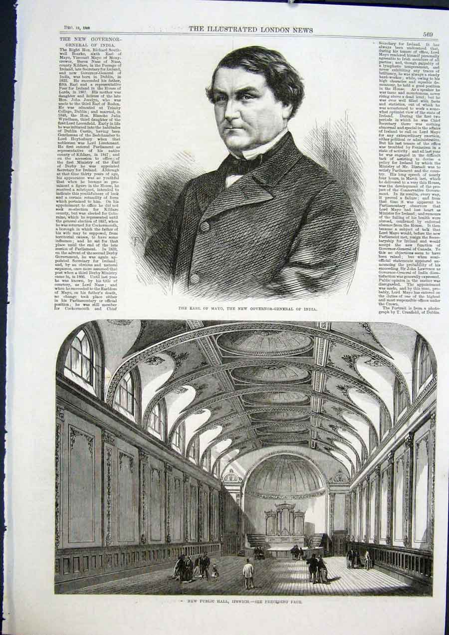 Print Mayo Earl Governor India Public Hall Ipswich 1868 69Maa1 Old Original