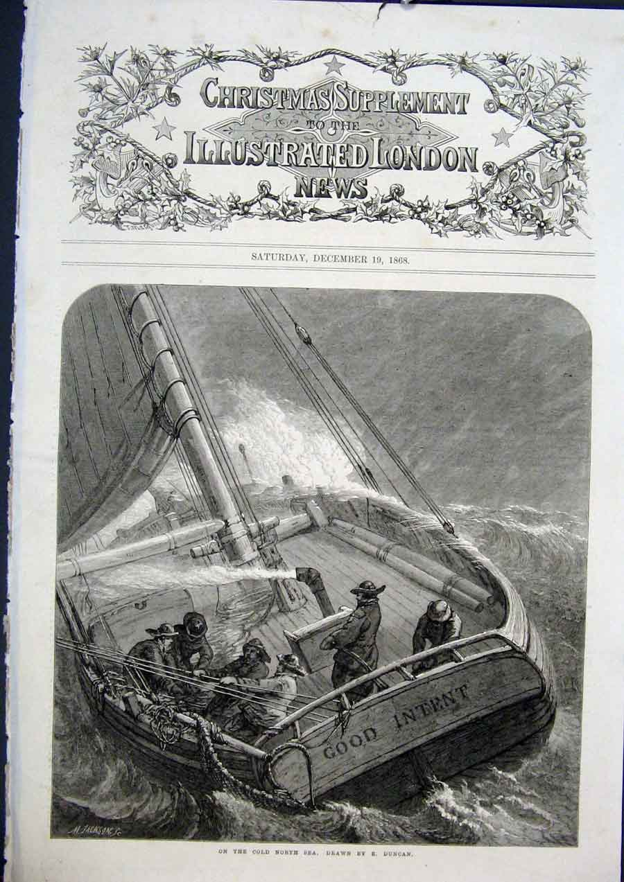 Print Cnorth Sea Boat Ship Duncan Fine Art 1868 98Maa1 Old Original