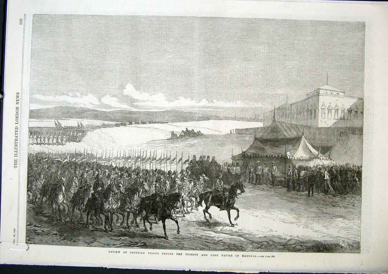Print Egyptian Troops Napier Magdala Viceroy India Egypt 1868 29Amaa1 Old Original