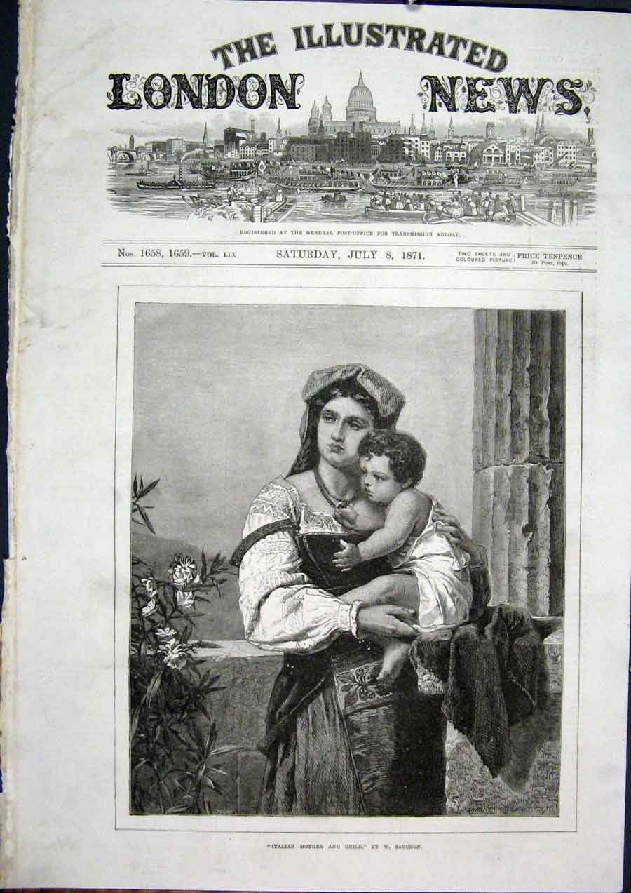Print Italian Mother Child Sauchon Fine Art 1871 02Maa1 Old Original