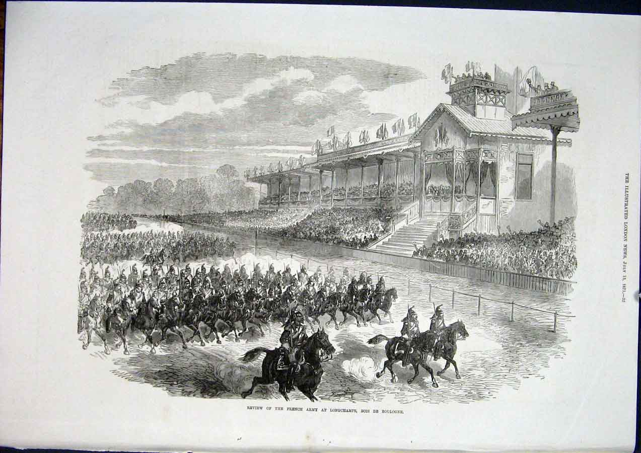 Print Longchamps Bois De Boulogne French Army France 1871 32Maa1 Old Original