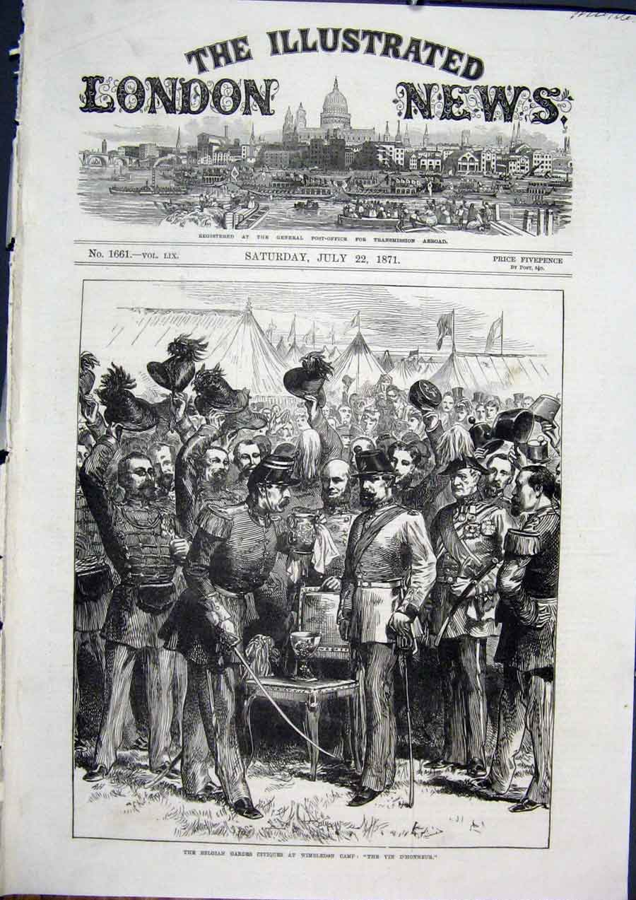 Print Belgian Gardes Guards Wimbledon Camp War 1871 54Maa1 Old Original