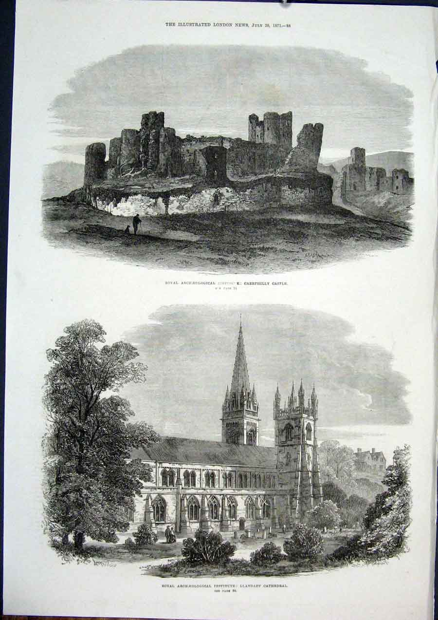 Print Llandaff Cathedral Wales Caerphilly Castle Archeology 88Maa1 Old Original