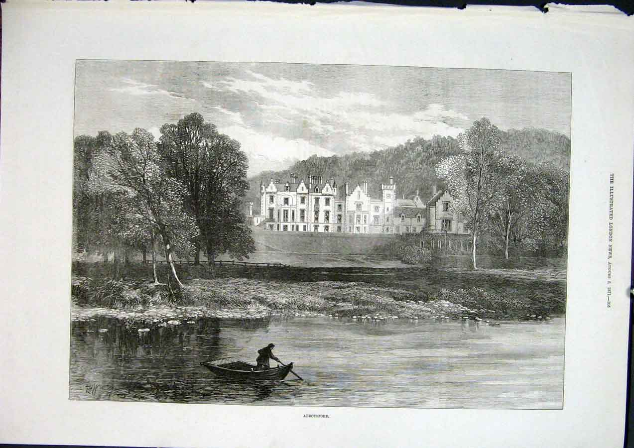 Print Abbotsford Scotts Riverside Home Scotland 1871 05Maa1 Old Original