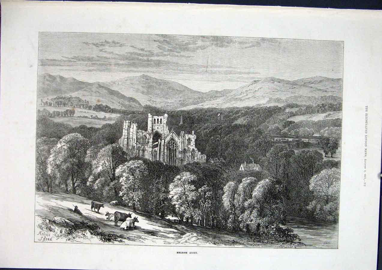 Print Melrose Abbey Scotland Fine Art 1871 09Maa1 Old Original