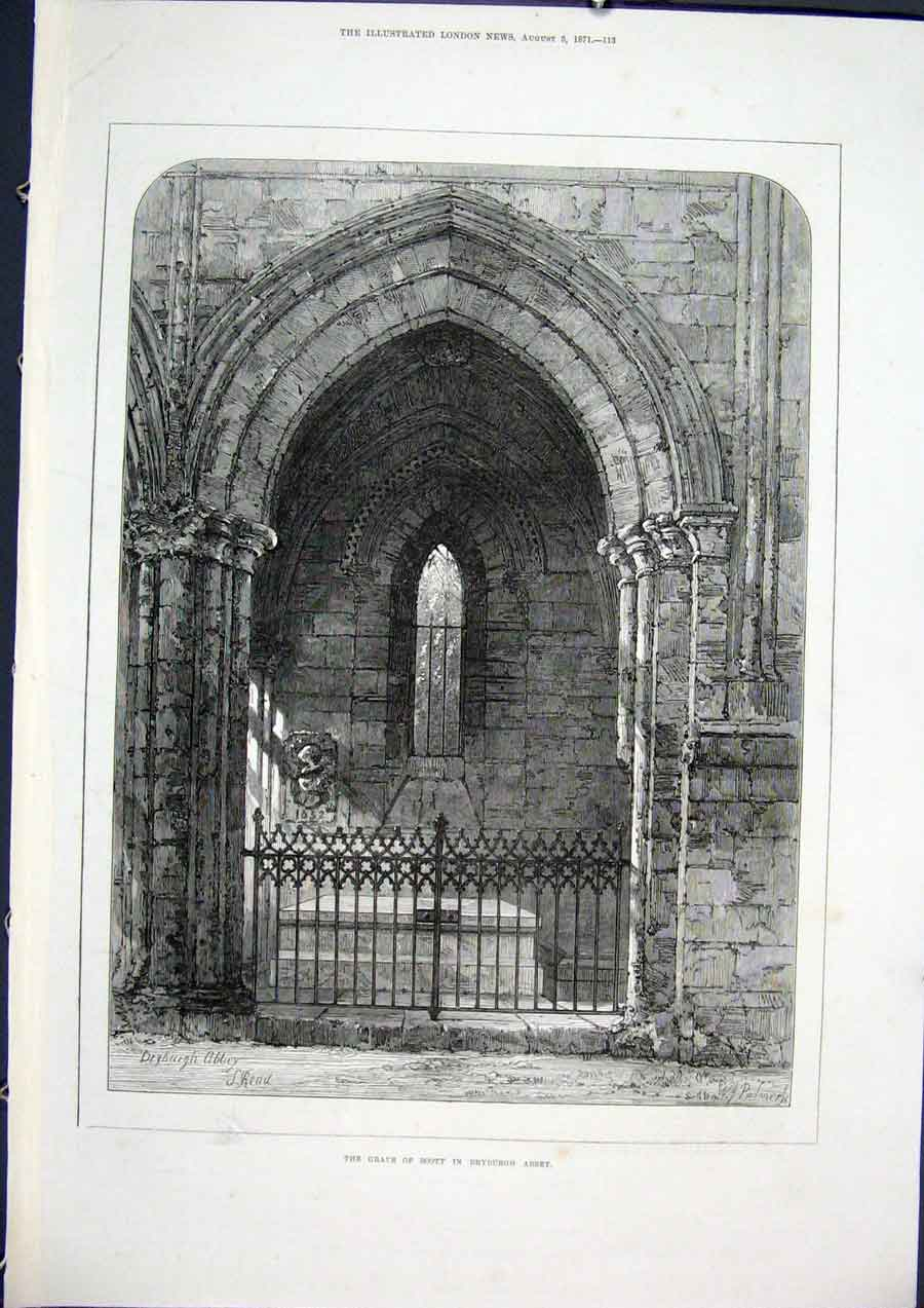 Print Dryburgh Abbey Scott Grave 1871 13Maa1 Old Original