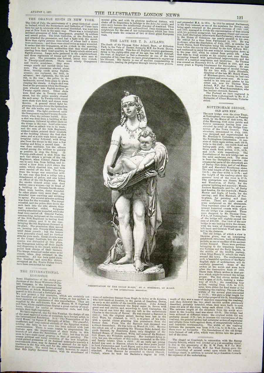 Print Statue Child Moses Borzeghi Milan Italy Fine Art 1871 21Maa1 Old Original