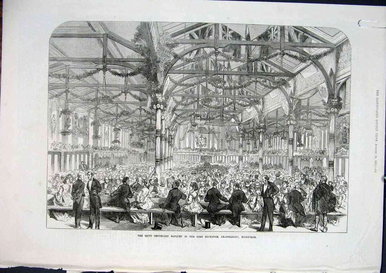 Print Corn Exchange Scott Grassmarket Edinburgh Rob Roy 1871 52Amaa1 Old Original