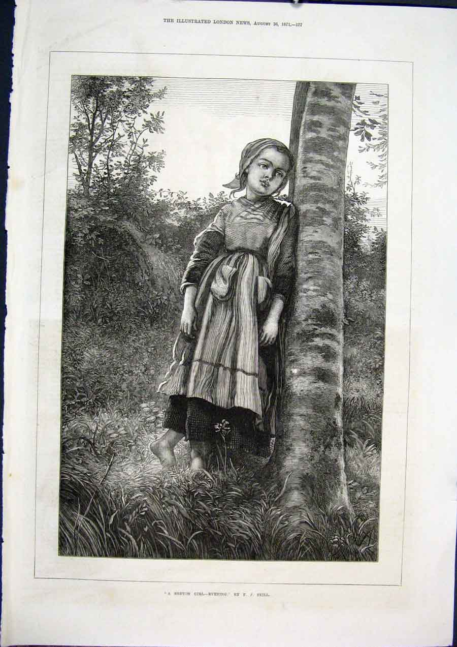 Print Breton Girl Evening Skill Fine Art 1871 77Maa1 Old Original