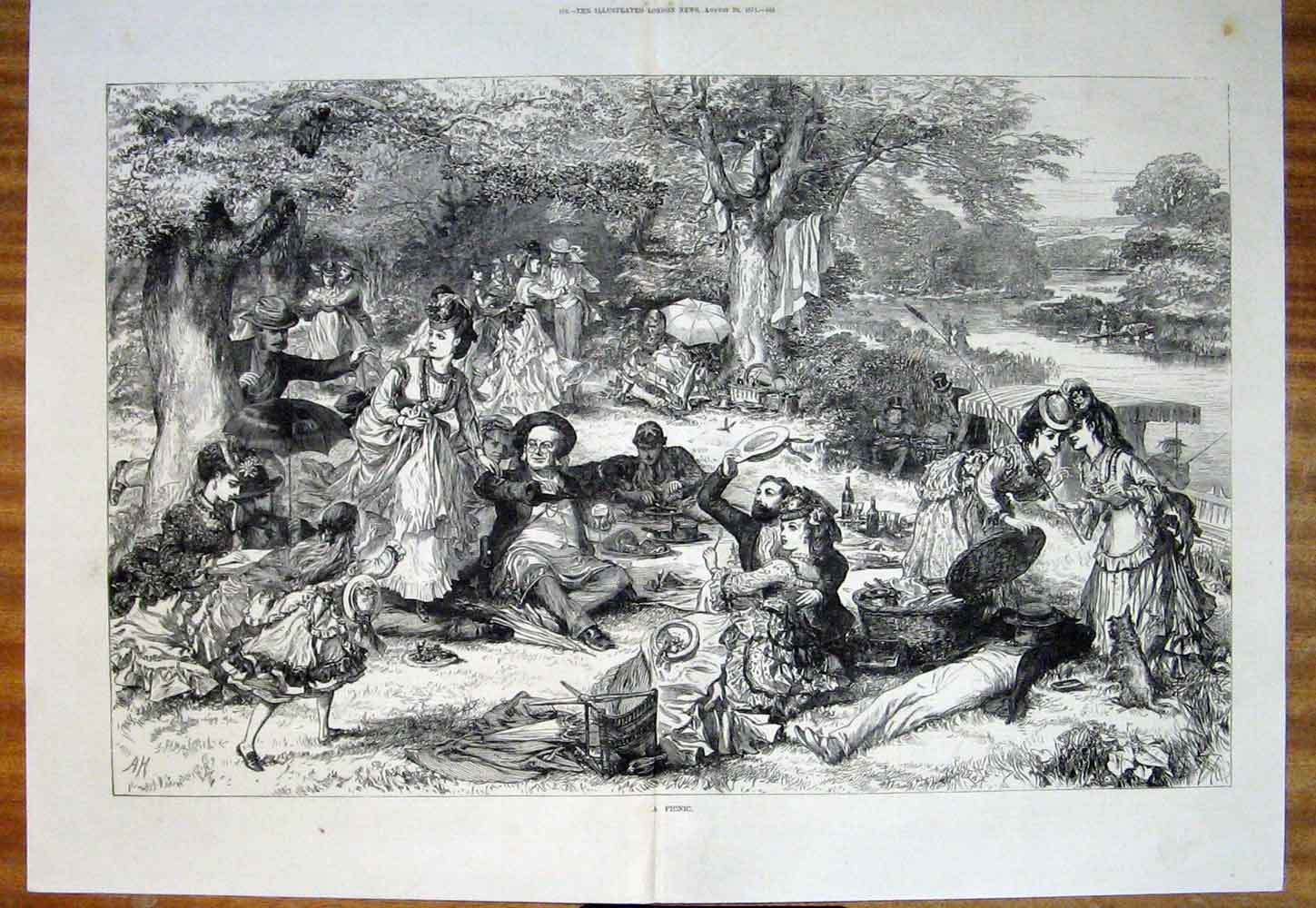 Print Picnic London River Park Fine Art 1871 83Tmaa1 Old Original