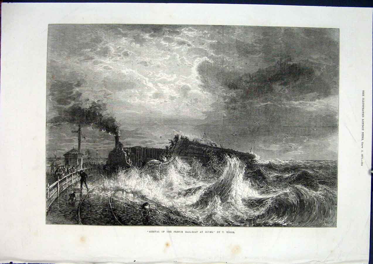 Print French Mail Boat Dover Mail-Boat Weber Fine Art 1871 04Maa1 Old Original