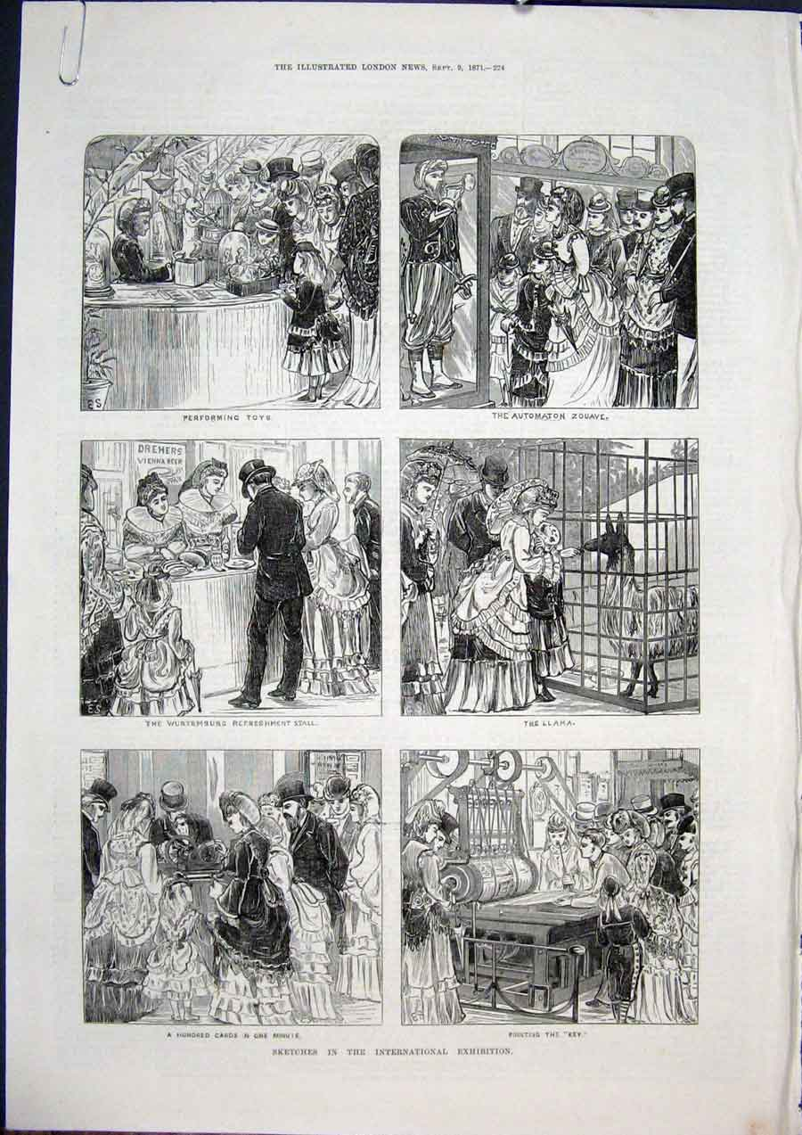 Print Sketches International Exhibition Kensington Court 1871 24Amaa1 Old Original