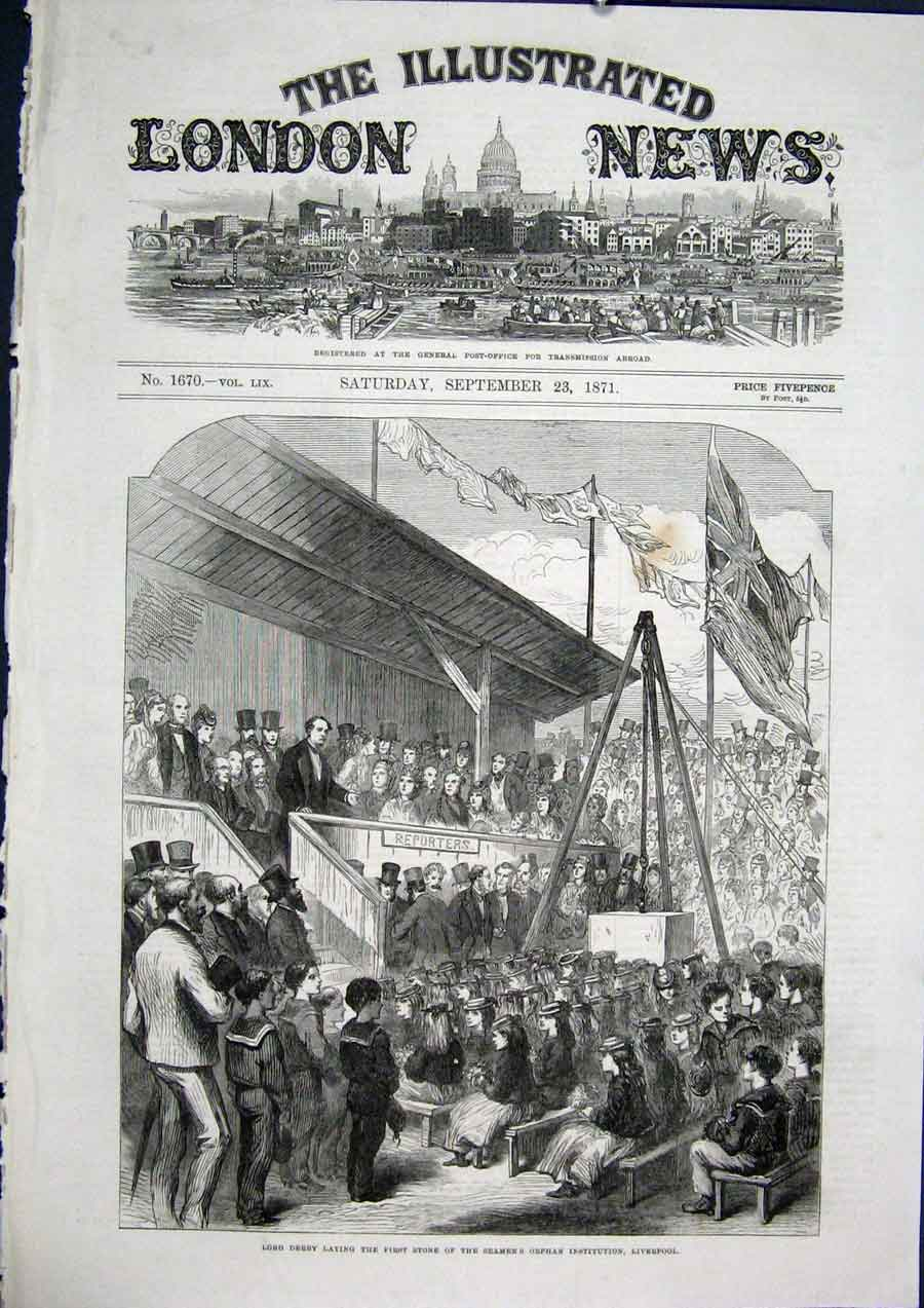 Print Derby Seamen'S Orphan Institution Liverpool 1871 70Maa1 Old Original