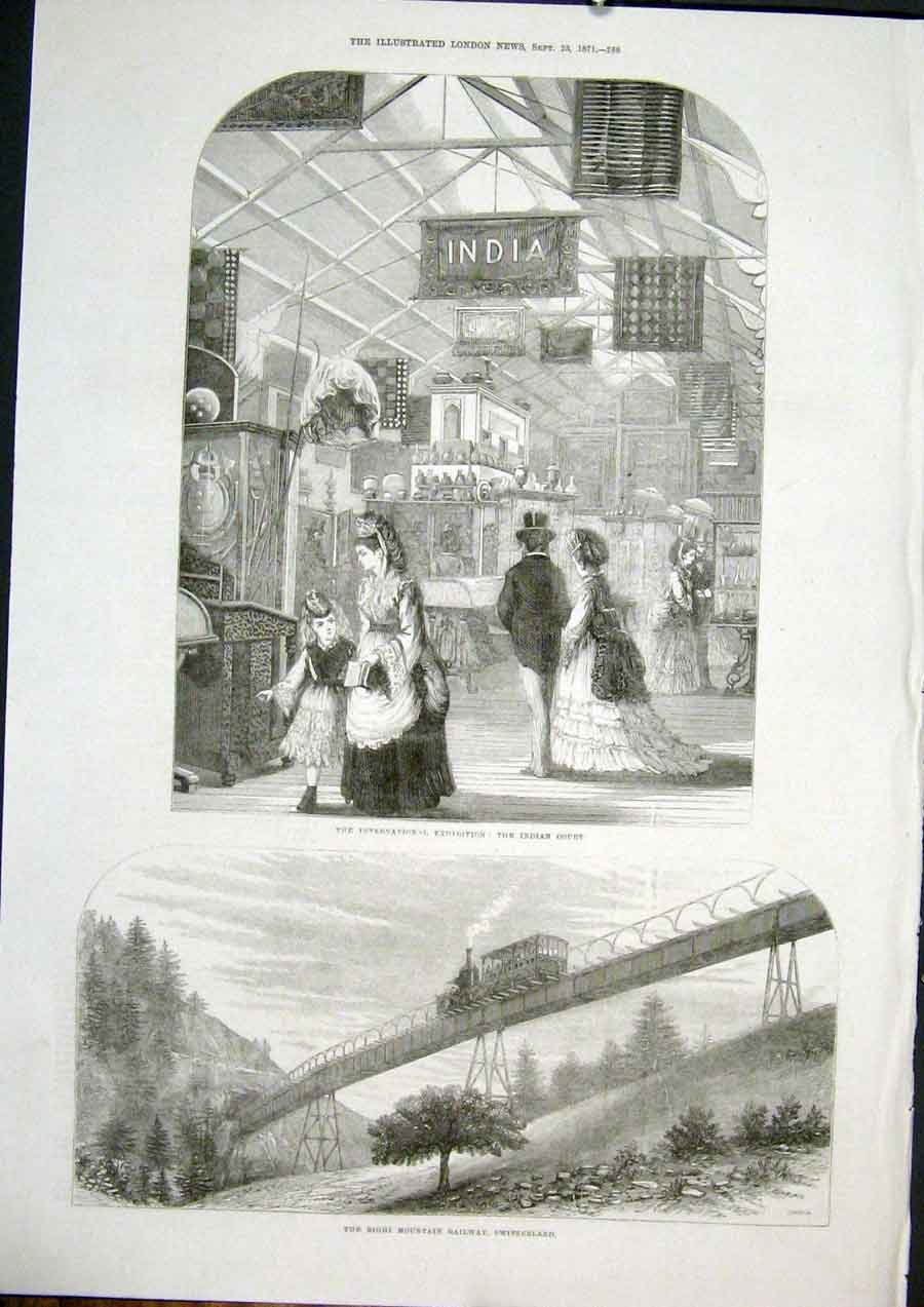 Print Indian Court Exhibition Righi Railway Switzerland 1871 88Maa1 Old Original